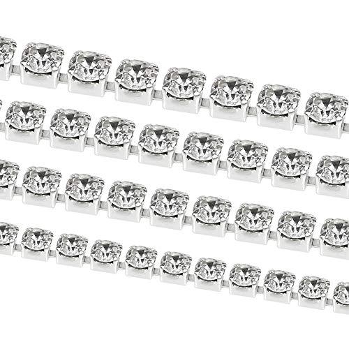 - TOAOB 22 Yard Crystal Rhinestone Close Chain Trim Sewing Crafts 2mm 2.5mm 2.8mm 3mm Set Clear Silver Tone
