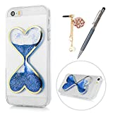 iPhone SE Case Clear, iPhone 5 Case, KASOS Cute Double Heart-Shaped Sand Glass Glitter Case Bling Quicksand Soft TPU Shell Slim Fit Lightweight Bumper Cover & Dust Plug & Stylus - Blue