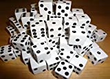ANBANA ® 100pcs White With Black Spots Opaque Dice - 16mm (5/8