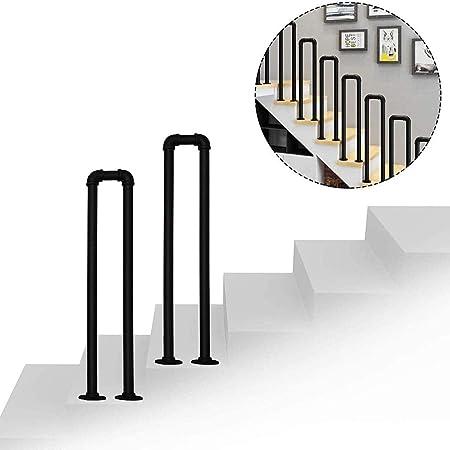 GJIF Barandilla De Escalera Exterior, Barandilla De Escalera Negra Mate Barandilla De Hierro Forjado con Kit De Instalación Barandillas para Escaleras Exteriores, 1 Pieza(Size:85 cm (2.8 pies)): Amazon.es: Hogar