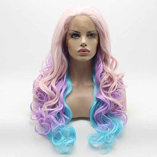 Lushy Wavy Long Pink Light Purple Blue Mix Wig Full Density Half Hand Tied Heat Resistant Synthetic Lace Front Wig ()