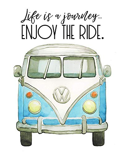 Life is a Journey Wall Art VW Bus Travel Quote Print