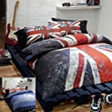 UNION JACK REVERSIBLE FULL DUVET QUILT COMFORTER COVER