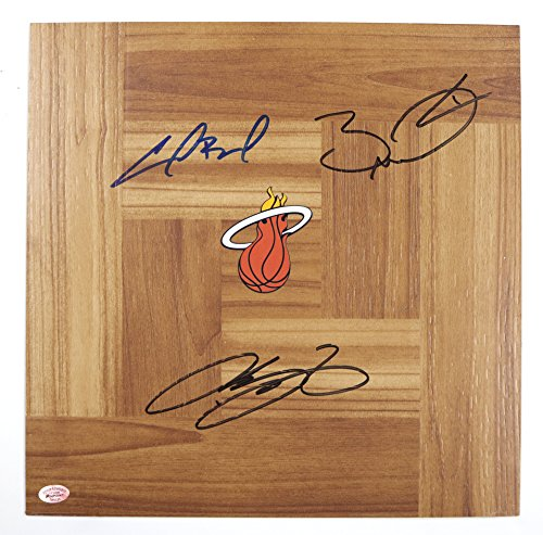 - Lebron James, Dwyane Wade and Chris Bosh Miami Heat NBA Finals Champions Signed Autographed Basketball Floorboard