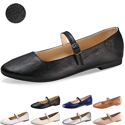 CINAK Flats Mary Jane Shoes Women's Casual Comfortable Walking Buckle Classic Ankle Strap Style Ballet Slip On (9-9.5 B(M) US/ CN41 / 10'', -