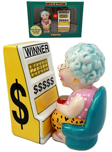 "Atlantic Collectibles Casino Jackpot Slot Machine Queen Salt & Pepper Shakers Ceramic Magnetic Figurine Set 3.5""L"