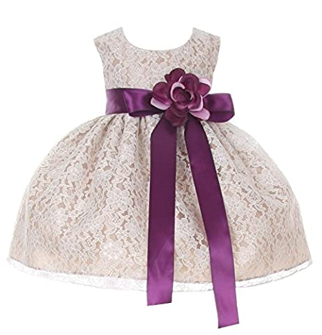 Cinderella Couture Baby-Girls Champagne Lace Dress Purple Sash & Flw 12M M 1132B - Couture Formal Dresses