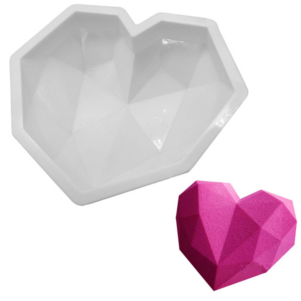 BLUECELL Diamond Heart Mousse Cake Mold Trays, 7.8-inch Silicone Baking Pan-Food Grade & BPA Free-Not Sticky Mould Suitable For Mousse,Chocolate Brownie,Jelly,Ice Cream,Chiffon,Cheesecake,Fondant