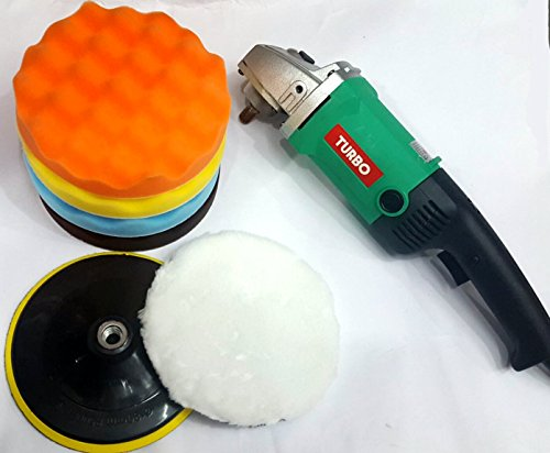 TOOLSCENTRE Tools Centre All In One Greeen/Orange Home/Professional 180Mm 7'' Car Polisher Combo With Assorted Polishing/Rubbing/Buffing Pads by TOOLSCENTRE