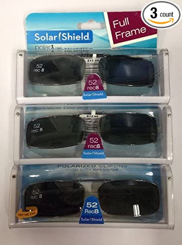 b61f897362f Amazon.com  3 SOLAR SHIELD Clip-on Polarized Sunglasses 52 Rec 8 Black Full  Frame  Sports   Outdoors