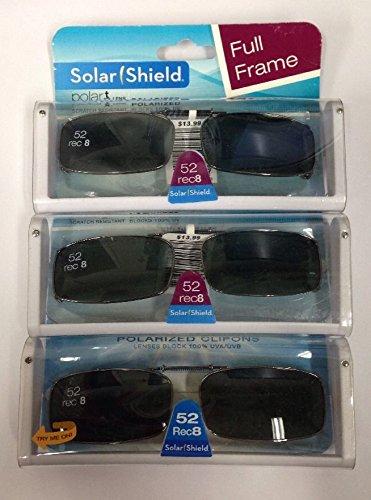 3 SOLAR SHIELD Clip-on Polarized Sunglasses 52 Rec 8 Black Full - Sunglasses Solar 3