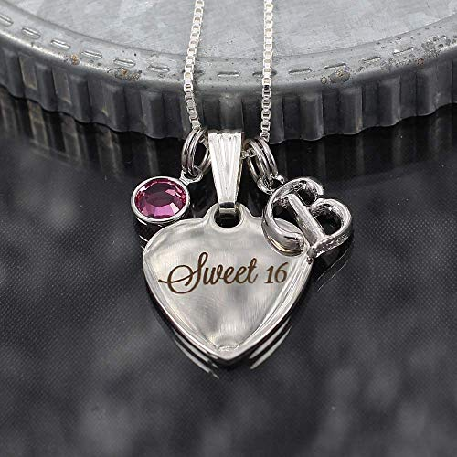 Sweet 16 Necklace with Initial Letter Charm Special Birthday Gift for Daughter (Optional Engraving)