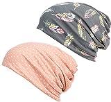 HONENNA Printed Turban Headband Chemo Cap Cotton Soft Sleep Beanie (Gray+Spot)