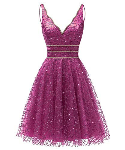 (Women's Tulle Prom Gown Short Homecoming Dresses Crystal Sparkle Party Dresses(hot Pink,14))