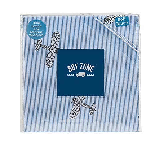 Boy Zone 3 Piece Single Bed Vintage Airplanes and Pinstripe Twin Cotton Sheet Set Blue on White Background