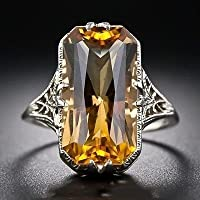 Thanyaluk Vintage Women 925 Sliver Ring Natural Citrine Wedding Engagement Size 6-10 (6)
