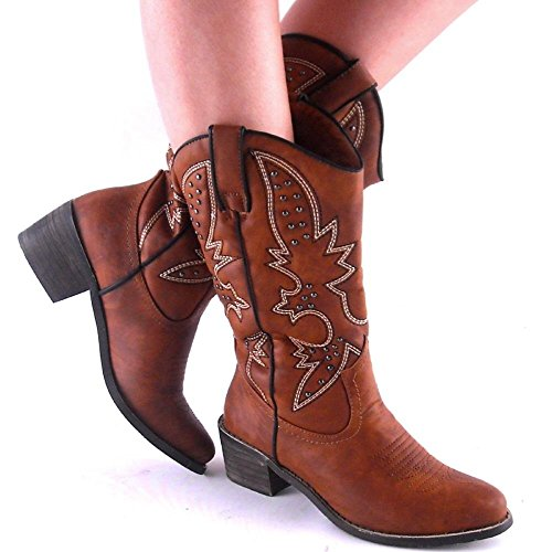 Rancher by Dollhouse New Womens Chestnut Brown Studded Em...