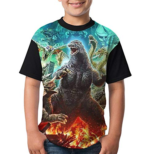 Famous World Youth God-Zilla Tee T Shirt for Teenager Boys Girls Black M