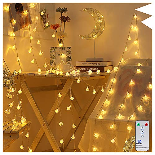 Globe String Lights 60 LEDs 33Ft Outdoor Indoor Ollny Fairy String Lights Warm White for Christmas Wedding Bedroom with Remote & Timer Plug in Waterproof