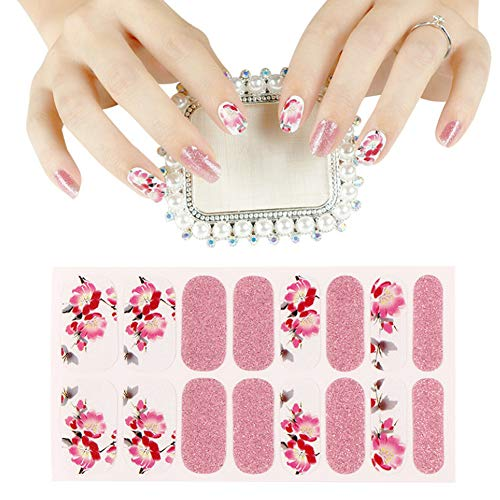 BornBeauty Flower Full Nail Stickers Glitter Full Wraps Adhesive Manicure Decals Strips With 1pcs Nail File For Girls Women 5 Sheets