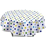 """Round Oilcloth Tablecloths in Big Dot Collection - Navy - 47"""""""