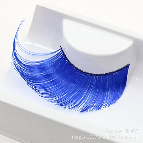 AnHua® New Sexy Fun Ladies Styles Handmade Reusable Long Thick Fancy Party Feather False Eyelashes Makeup Eye Lashes (Blue)