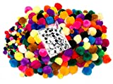 EduKit Pom Pom Craft Supply Bumper Pack | 1200 PC Children's DIY Craft Kit (1000 Pompoms & 200 Googly Eyes) | Colorful Hobby & Craft Supplies for Kids, Preschoolers & Classrooms