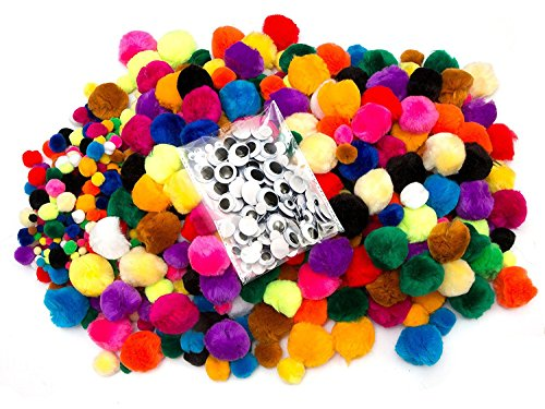 EduKit Pompom Craft Supply Bumper Pack | 1200 PC Children's DIY Craft Kit (1000 Mini Pompoms & 200 Googly Eyes) | Colorful Hobby & Craft Supplies for Kids, Preschoolers & Classrooms