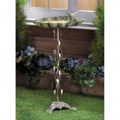 Verdigris Leaf Birdbath Cast Wrought Iron Garden Home Decor Birds Bath Water - Iron Cast Wrought Garden Decor