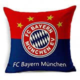 E-sunshine® Thick Cotton Blend Linen Square Throw Pillow Cover Decorative Cushion Case Pillow Case 18 X 18 Inches / 45 X 45 cm, New Football Club Badge (Bayern Munchen)