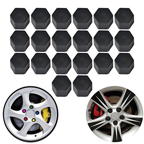 PME 20pcs/Set Auto Car Silicone Wheel Lug Nut Bolt Cover Tyre Dust Screw Cap Night Luminous Wheel Nut Protective Cap Wheel Screw Size 17/19/21mm (17mm, Black)