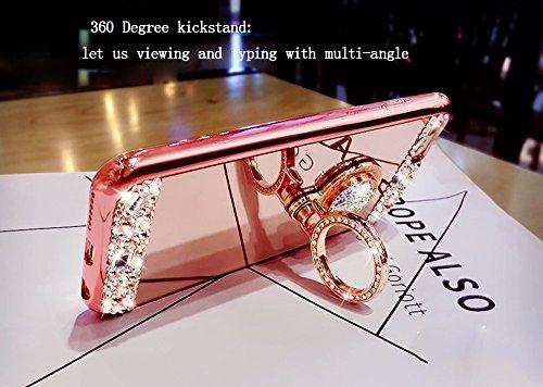 iPhone 6sPlus Hülle, Mirror Design CLTPY iPhone 6sPlus Glänzend Glitzer Kristall Strass TPU Handytasche Gold Überzug Bumper mit Ring Ständer für Apple iPhone 6Plus/6sPlus + 1 x Freier Stylus