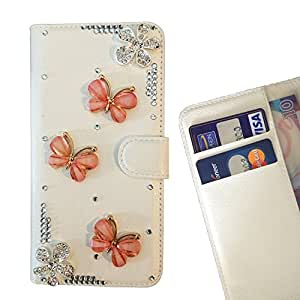 FOR Samsung Galaxy S4 i9500 i9508 i959 Fly The Way Butterfly Bling Bling PU Leather Waller Holder Rhinestone - - OBBA