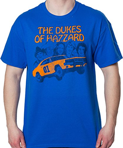 Ripple Junction Men's Group Cast Dukes of Hazzard Shirt Royal (The Dukes Of Hazzard Cast)