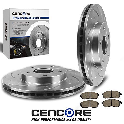 Infiniti I30 Rotor ((Front) Combo Brake Kit with 2 Pcs Drilled Slotted Brake Rotors & 4 Pcs Ceramic Pads for Infiniti I30/Nissan Maxima 2000 2001 (Made After Oct 2000))