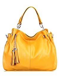 SAIERLONG Womens European And American Style Yellow Cowhide Messenger bag handbag shoulder bag
