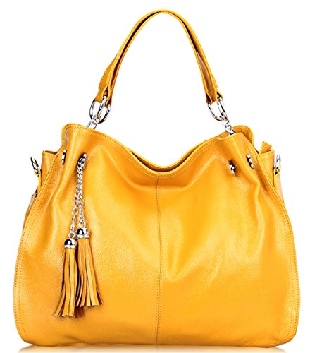 SAIERLONG Womens European And American Style Yellow Cowhide Messenger bag handbag shoulder ()
