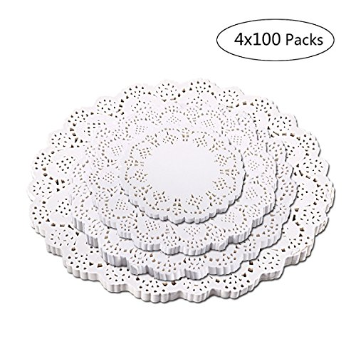 400-pack Round Lace Paper Doilies Decorative White Doily Lace Paper for Packaging Cake Pastry and Cookie (100-pack 4.5 Inch, 100-pack 6.5 Inch, 100-pack 8.5 Inch and 100-pack 10.5 (Accessories Cake Plate)
