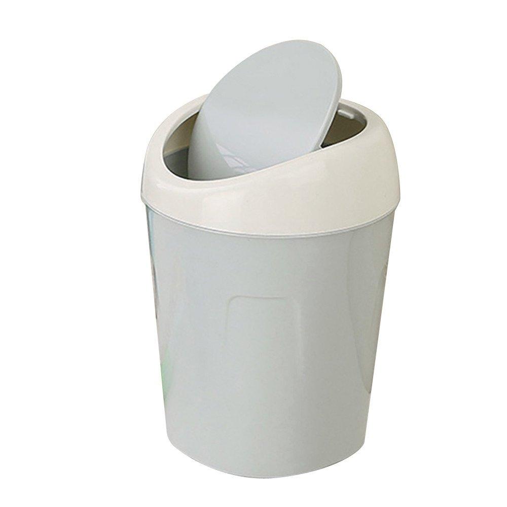 Desktop Trash Can Mini Trash Bin Countertop Plastic Swing Lid Garbage Storage Bucket Wastebasket for Home or Office (Light blue)