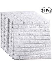 ملصق حائط ثلاثي الأبعاد من LEISIME 10 قطع ذاتي اللصق لوحات حائط لاصقة مقاومة للماء من PE فوم ورق جدران أبيض لجدار غرفة المعيشة وديكور المنزل (10 قطع طوب - 58 قدم مربع)