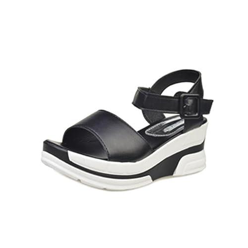 Ansenesna Sandalen Damen Sommer Keilabsatz Leder Leder Keilabsatz Schwarz Weiß 93486d