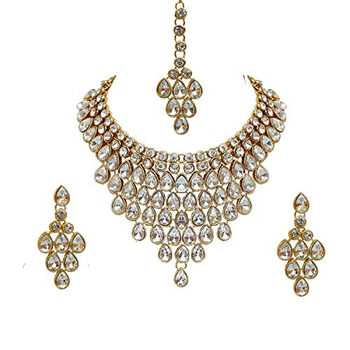 YouBella Jewellery Bollywood Ethnic Wedding Bridal Gold Plated Traditional Indian Necklace Set with Earrings for Women