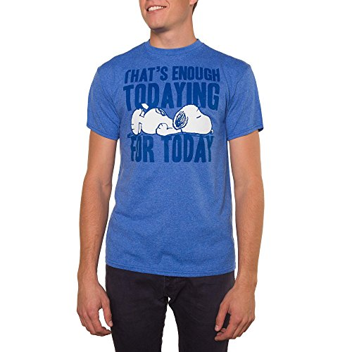Peanuts Men's Snopy That's Enough Todaying Today Graphic Crew Tee (Medium (38-40))