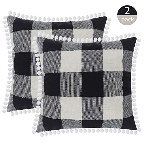 SEEKSEE Buffalo Plaid Throw Pillow Covers Burlap Country Decoration Checkers Large Plaid Cotton Linen Decorative Pillowcase Retro Cushion Sofa Living Room 18x18 in,Set of 2 (Hairball-Gray) (Country Decorated Rooms Living)