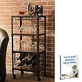 wine and liquor cart - Storage Wine Rack, Glass Holder Hanger Storage Rolling Metal Frame Cart,Open Shelf Potable Furniture & Ebook By Easy2Find
