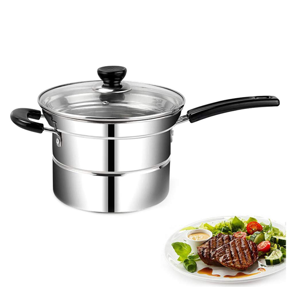 MAI&BAO Deep Fryer Stainless Steel Induction-Safe Pan with Fryer Basket and Lid with Drain Shelf, Fried Chicken Legs, French Fries, Soup 20cm