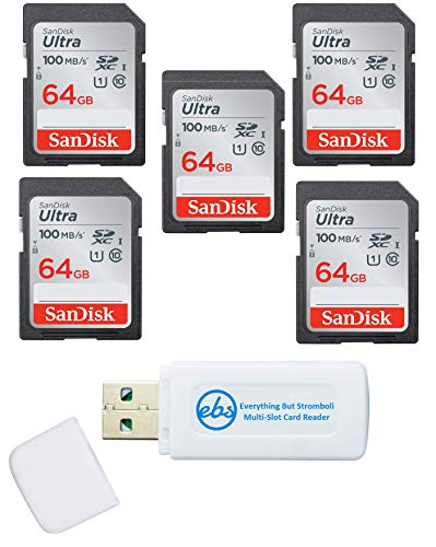 SanDisk 64GB SD Ultra Memory Card (5 Pack) UHS-I Class 10 SD Memory Card (SDSDUNR-064G-GN6IN) Bundle with (1) Everything But Stromboli Combo Card Reader