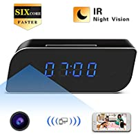 HD 1080P WIFI Alarm Clock Hidden Camera Wireless Spy Nanny Cam with IR Night Vision, Motion Detection, 160 Degrees for Home Security, Baby Pet Monitor.