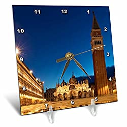 3dRose Danita Delimont - Italy - Early morning reflections, Piazza San Marco, Venice, Veneto, Italy - 6x6 Desk Clock (dc_277554_1)