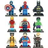 Super Heroes Mini Figures Full Set 9 Pcs Party Bags Fits Lego Batman Superman Thor Captain America Spiderman Wolverine Ironman Hulk Hawkeye